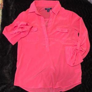 Neon Pink 3/4 Button Down
